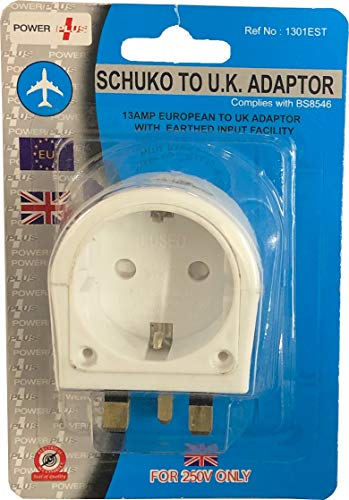 POWERPLUS - Adattatore da Schuko a UK (messa a terra)