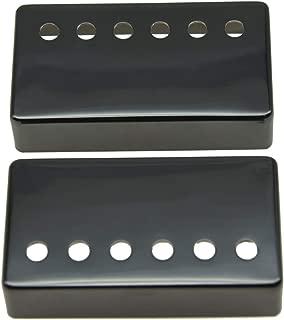 KAISH Set of 2 Humbucker Guitar Pickup Cover Brass Humbucker Pickup Covers 50mm/52mm Pole Spacing Fits most Epiphone Les Paul Black Nickel