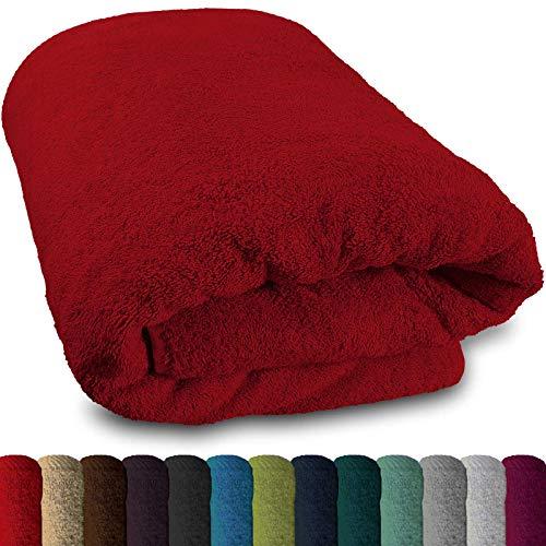 Lanudo® XXL Sauna-Handtuch 600g/m² Pure Luxus Line mit Bordüre.100% feinste Baumwolle, 80x200 cm (Rot)