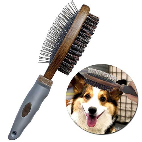 Cepillo para mascotas para perros y gatos, doble cara y cerdas para pelo corto, mediano o largo. Peine profesional de bambú que limpia el pelaje de mascotas y la...