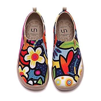 UIN Women s Flats Canvas Lightweight Slip Ons Sneakers Walking Casual Art Painted Travel Shoes Secret Garden  41