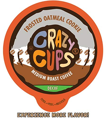 Crazy Cups Flavored Single-Serve Coffee for Keurig K-Cups Machines, Decaf Frosted Oatmeal Cookie, 22 Pods per Box