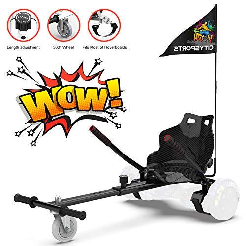 RCB Hoverkart für Hoverboard Sitz Zubehör für selbstausgeglichenes Scooter Go Kart Längenverstellbar Kompatibel mit Allen Hoverboards - 6,5/8 / 8,5/10 Zoll für Erwachsene und Kinder