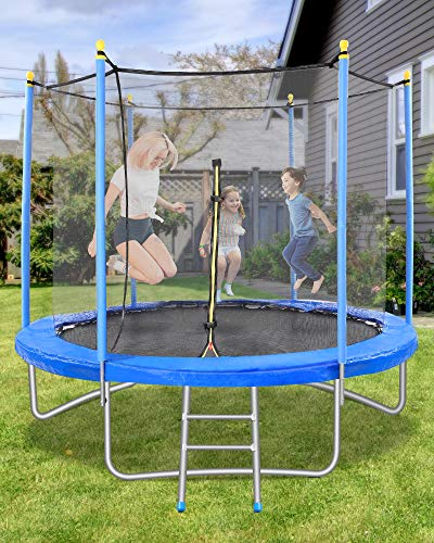 10FT Trampoline for Kids with Safety Enclosure& Capacity 264 lbs& 54 Springs, Jumping Mat, Spring Cover, Leisure Sports & Fitness