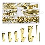 Foto Gancho, 150 Piezas Marco de Fotos de Metal con Clavos Marco Colgadores para Cuadros para Fotos, Reloj, Espejo 10-100 lb Dorado
