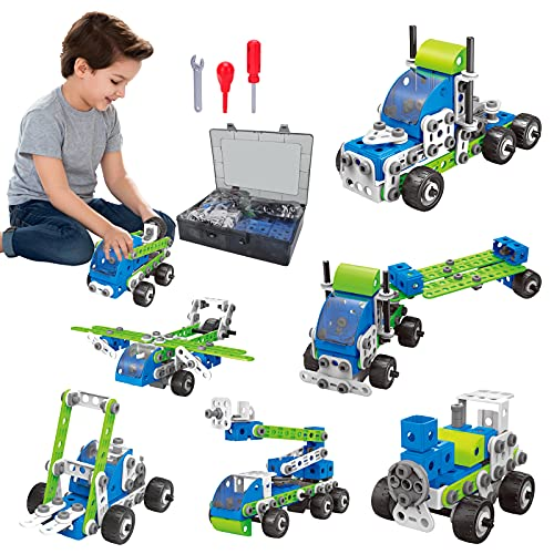 18-in-1 Erector Set for Boys 6-12, LETBEFUNA STEM Building Toys for Kids Ages 5 6 7 8 9 10 1112 Year Old Boys Girls, 175 PCS DIY Construction Learning Toy with Pull Back Function Toys for Kids