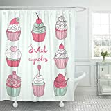 QIUJUAN Duschvorhang, Colorful Heart Hand Drawn with Cute Cupcakes Green Sketch Shower Curtain 72 x 72 Inches Shower Curtain with Plastic Hooks