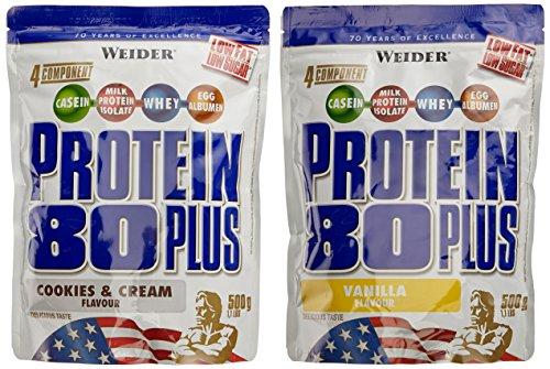 Weider Protein 80 Plus Beutel 2er Mix Pack, Cookies & Sahne/Vanille, 2 x 500 g (1 x 1 kg)