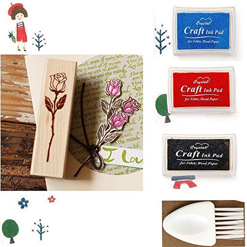 1 Wood Rubber Stamp(Rose) for Scrapbooking, Card Making, DIY Crafts + 3 Different-Colored Ink Pads + 1 Small Cleaning Brush.