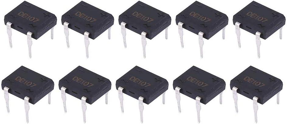 DB107 Puente rectificador de diodos 1A 1000V 4 pines para electrodomésticos y circuitos electrónicos industriales(10Pcs)