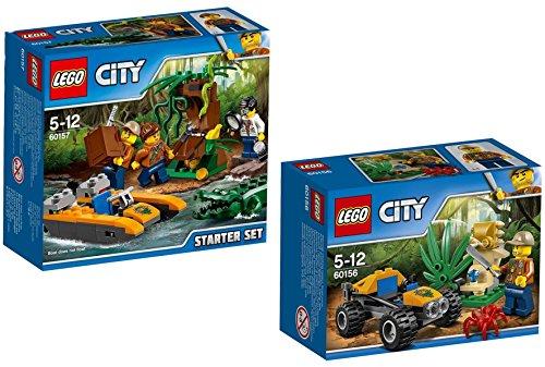 Lego City 60157–Kit de iniciación de jungla + Lego City 60156–Jungla de Buggy