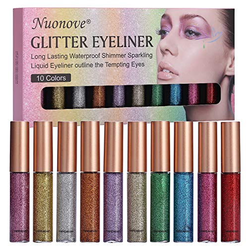 Glitter Eyeliner, Liquid Glitter Eyeliner, Eyeliner Glitzer Set, Eyeliner Wasserfest, Glitter...