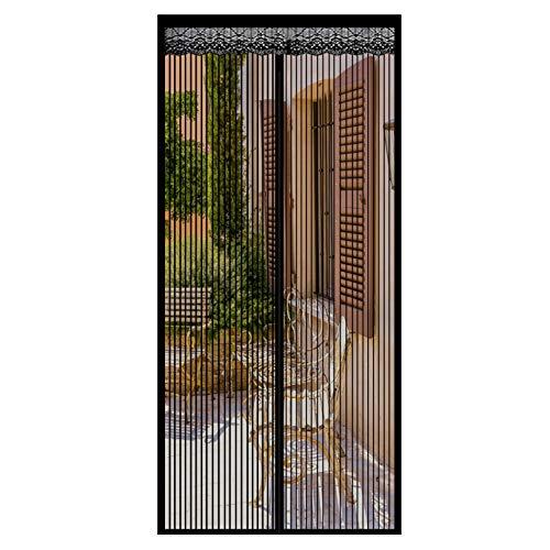 GOUER Fliegengitter Magnet 140x205cm Insektenschutz Magnet Insektenschutz Tür Ohne Bohren Super Leise, für Balkontür Terrassentür Wohnzimmer Fenster, Schwarz
