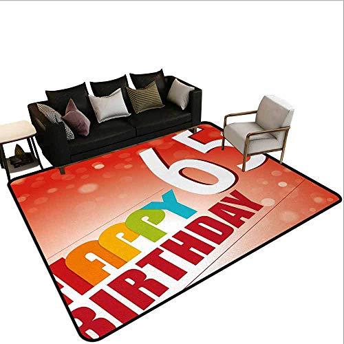Office Marshal Tapijt Stoel 60e Verjaardag, Vintage Verjaardag Partij voor Ouderen in Abstract Regenboog Kleuren Print,Multi kleuren