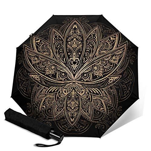 The Golden Lotus Tattoo-Regenschirm, Winddicht, Reise-Regenschirm, automatisches Öffnen/Schließen, kompakt, faltbar Weiß Der goldene Lotus-Tattoo Einheitsgröße