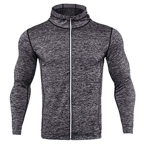 PPPPA Mens Gym Hoodie Muscle Fit Running Sweatshirt Zipper Mens Hoodies Tracksuit Tops Hoody Sport Sweatshirts Breathable Sport Jacket with Full-Length Zip Comfortable Zip Hoodie with Tight Fit