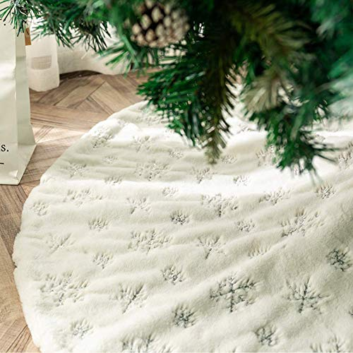 DegGod Plush Christmas Tree Skirts, 48 inches Luxury Snowy White Faux Fur Xmas Tree Base Cover Mat with Sequin Snowflakes for Xmas New Year Home Party Decorations (Silver, 48 inches)