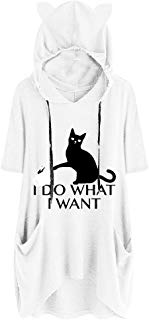 Women Fashion Sport Casual Cute Print Cat Ear Hooded Long Sleeves Pocket Irregular Loose Top Blouse Hoodies LIM&Shop