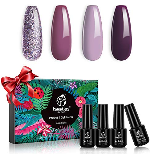 Beetles 4 Colors Purple Glitter Gel Nail Polish Set - Lilac Mauve Gel Polish Kit Purple Nail Polish Soak Off LED Lamp Gel Nail Kit Vanish Manicure DIY Home Christmas New Year Holiday Set