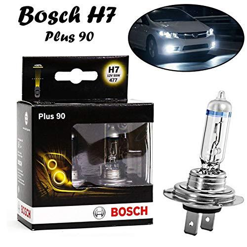 2x Bosch Plus 90 H7 55W 12V 1987301075 Intensiv hell Weiß +90% mehr Licht Ersatz Halogen Birne für Scheinwerfer, Fernlicht, Abblendlicht, Nebelleuchte vorne - E-geprüft