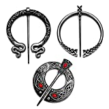 3 Pack Vintage Viking Brooches Pins Medieval Cloak Shawl Pin Clasp for Women Celtic Jewelry Costume Accessory Silver