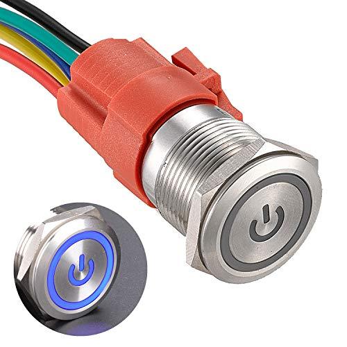 APIELE Botón de bloqueo de 19 mm, 12 V CC, símbolo de potencia, LED con conector hembra 1NO 1NC SPDT ON, encendido (carcasa plateada/azul)