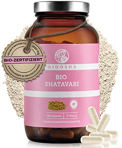 QIDOSHA® Bio Shatavari Kapseln hochdosiert, 180 Stk im Glas, 1500 mg Shatavari Pulver Bio je Tagesportion, laborgeprüft, vegan