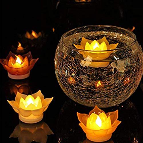 Mobestech 1 pc Lotus Kerze Licht realistische Blume schwimmende Kerze Licht führte flammenlose Kerze Teelichter für zu Hause Weihnachten Hochzeitsfeier Dekor gelb