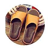 TELLW Cuero de Vaca Zapatillas de casa Mujer Masculina Verano Primavera Oto?o Interior Transpirable Antideslizante Verano Dormitorio a Prueba de olores Cool Zapatillas