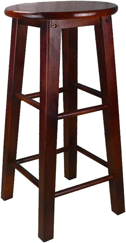 Bar stool,GZD Retro kitchen stools High Stool Round Bar Stools Wood Seat Breakfast Bar, All solid wood height 45cm 50cm 60cm 70cm 80cm for Kitchen Counter Bar , 50cm , 1