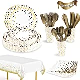 169PCS White and Gold Party Supplies Set Serves 24 Disposable Party Dinnerware Sets Includes Gold Dot Paper...