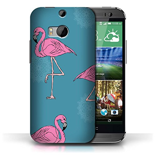 Stuff4® Hülle/Case für HTC One/1 M8 / Mandala/Teal Muster/Netter Flamingo Karikatur Kollektion