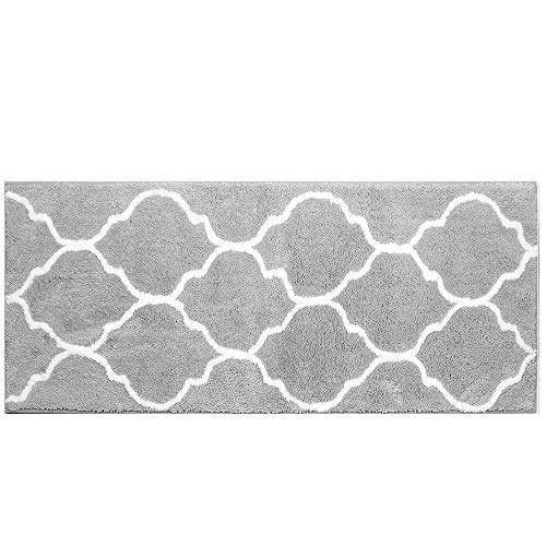 "HEBE Extra Long Bathroom Rug Runner Microfiber Non-Slip Absorbent Bath Runner Rug Mat for Bathroom Machine Washable Kitchen Rug Runner 18""x48"" (Grey)"