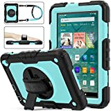 SEYMAC stock Case for Fire HD 8/8Plus Case (10th Generation 2020 ), [Full-Body] Shock-Proof Case with 360 Rotating Stand &Strap [Screen Protector] for Amazon Fire HD 8/8 Plus 10th Gen (SkyBlue+Black)