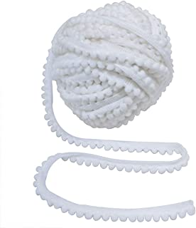 Embroiderymaterial Cotton Pom Pom Lace Trim for Borders, Craft and Decorations 10 Meters (9MM, White)