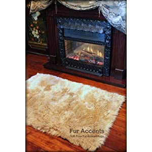 Camel Faux Fur Sheepskin Rectangle Accent Rug/Large 5 X 7 / Soft Ultra Suede Backing/New