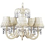 Jubilee Collection 7041-2002 5 Arm Water Fall Chandelier with Skirt Dangle Shade, Ivory