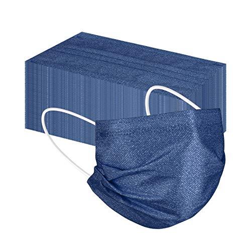 Lulupi 50 Stück Mundschutz Einweg Erwachsene Mund und Nasenschutz Jeansoptik Bedruckte Mundbedeckung Bandana Staubs-chutz Multifunktionstuch Maske Halstuch Schals für Damen Herren (Blau)