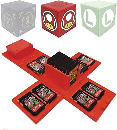 ALOUWEEKUKY Funda de Juego - Compatible para Nintendo Switch Compatible con hasta 16 Juegos de Nintendo Switch Organizador de Tarjeta de Juego Contenedor de Viaje (Hongo Rojo)