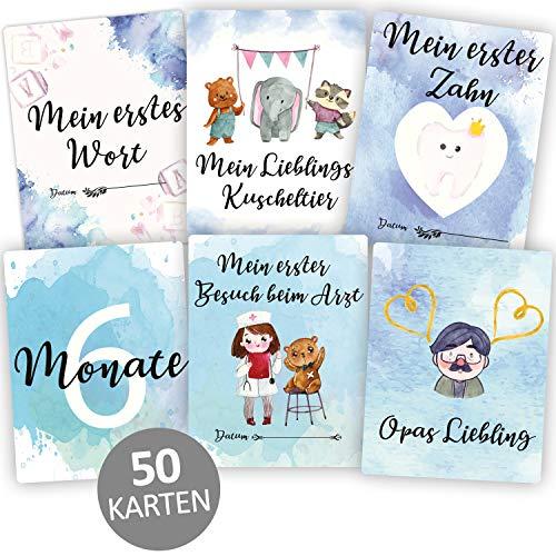 Little Moonshine 50+1 deutsche Baby Meilensteinkarten für Jungen mit hochwertiger Geschenkbox - ideales Geschenk zur Geburt, Babyparty und Schwangerschaft - Für das erste Lebensjahr