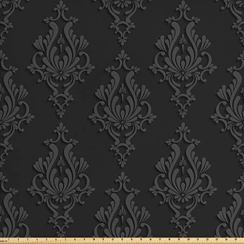 Ambesonne Dark Grey Fabric by The Yard, Antique Damask Pattern in 3D Style Classic Old Fashioned Floral Design, Decorative Fabric for Upholstery and Home Accents, 2 Yards, Charcoal Grey