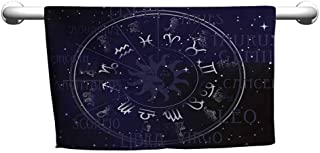 duommhome Astrology Quick Dry Towel Horoscope Zodiac Sign in Circle Wheel Shape on Star Seem Backdrop Print W31 x L63 Dark Blue and White
