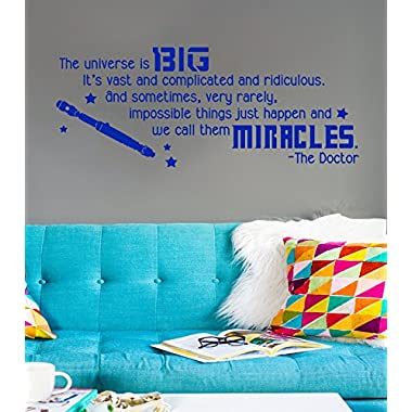 GMDdecals DW Inspired Big Miracles Quote [BLUE] Vinyl Wall Decal by 28 inches x 12 inches Dr Doctor Inspirational Who Screwdriver Fandom Gift Decor