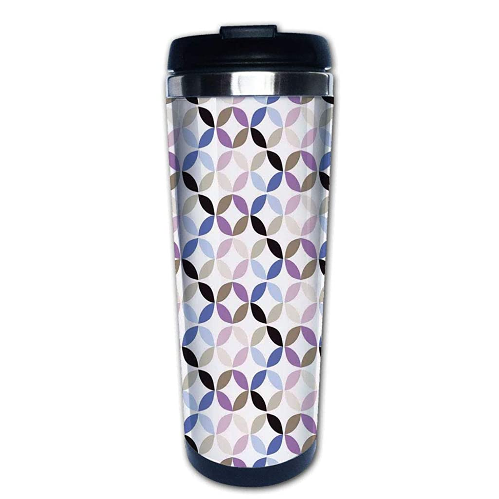 Stainless Steel Insulated Coffee Travel Mug,Style Dynamic Contrast Bands Diagonals Fractals,Spill Proof Flip Lid Insulated Coffee cup Keeps Hot or Cold 13.6oz(400 ml) Customizable printing