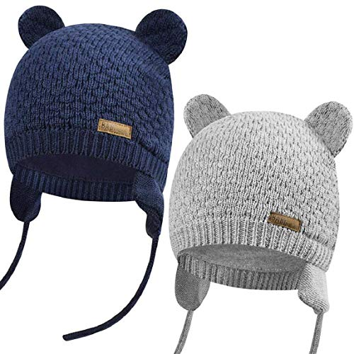 heekpek Baby Mütze Schöne Baby Winter Mütze Neugeborene Strickmütze Ohrenklappen Beanie für Kleinkinder Mädchen Jungen Gr. L, 2 Stück: Marineblau + Grau.