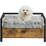 MSmask Lit pour chien avec tiroir, canapé pour chien, lit surélevé pour animaux de compagnie, plate-forme cadre de lit pour petits, moyens, grands chiens, capacité de charge maximale 70 kg