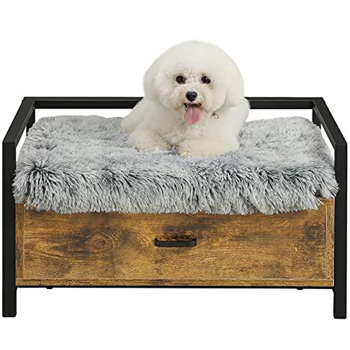 MSmask Hundebett mit Schublade, Hundesofa/Hundecouch Fahmen, Erhöhtes Haustierbett, Plattform Bettrahmen für Klein, Mittelgroße, Grosse Hunde, Maximale Tragfähigkeit 70 kg (55.5*40CM, Retro Braun)