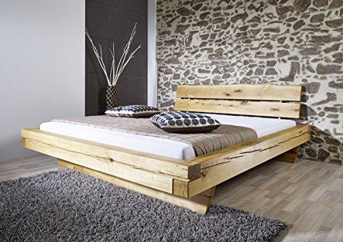 K & G Moebel GmbH Bett Balkenbett Doppelbett 180x200 cm Wildeiche massiv Balken Schlafzimmer
