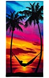 Dawhud Direct Palm Tree Sunset Super Soft Plush Cotton Beach Bath Pool Towel