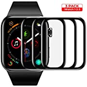 Screen Protector for Apple Watch Tempered Glass Scratch Resistant Anti-Bubble Film Screen Protector for Apple Watch 38 mm Series 3/2/1 - HD Clear Anti-Bubble [3 Pack]